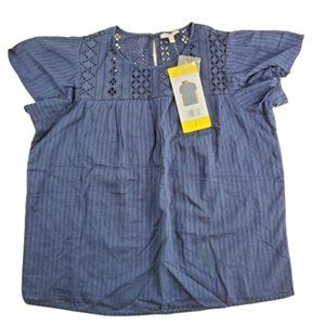 Ella Moss Blouse Women's Size S Short Sleeve Navy